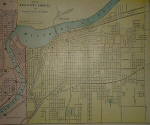 Antique Kansas City Map From Vintage 1897 Atlas Multi Color 100 Years Old A4