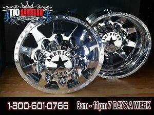 New American Force Independence 22x8 25 Dually Truck Wheels Rims Ford Dodge
