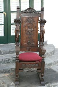 Antique French Renassance Carved Figural Throne Chair 19th Century