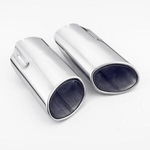 Pair Oval 304 Stainless Steel Exhaust Tips For Mercedes Benz C300 C350 E300 E350