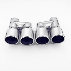 Pair Dual Offset 3 Out 2 25 In Exhaust Tips Resonated Polished Stainless Steel