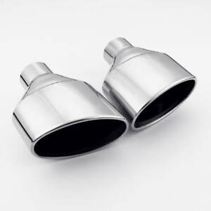 Pair 2 25 In Oval Out Audi Rs Look Ss304 Exhaust Tips Resonated Black Inside