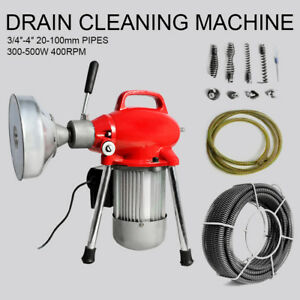 3 4 4 Sectional Pipe Drain Cleaning Machine Snake Cleaner Pipeline Dredger New