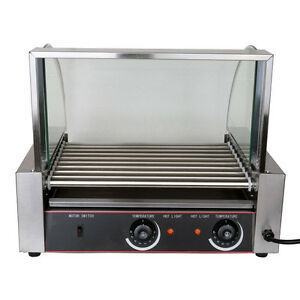 1260w Portable Stainless 24 Hot Dog 9 Roller Grilling Machine W Cover