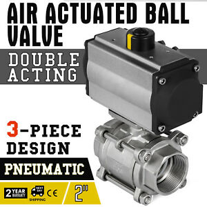 2in 3 piece Pneumatic Actuated Ss Ball Valve Double Acting Air Return