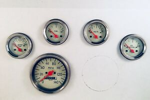 5 Gauge Mechanical Speedometer Set Street Rod Hot Rod Universal Beige
