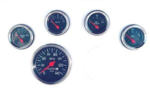 5 Gauge Mechanical Speedometer Set Street Rod Hot Rod Universal Black