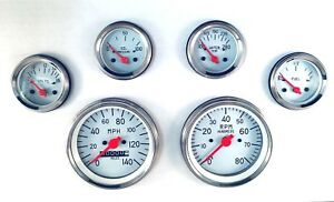 6 Gauge Mechanical Speedometer Set Street Rod Hot Rod Universal White