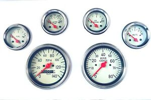6 Gauge Mechanical Speedometer Set Street Rod Hot Rod Universal Beige