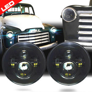 7 Led Headlights Headlamps Black For Chevy Truck 1947 1957 1962 1972 Jeep Tj Jk