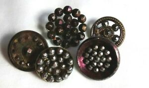 Antique Cut Steels Metal And Glass Victorian Sewing Button Mixed Lot