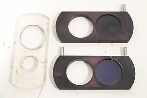 Lot Of 2 Microscope Filter Slide Fisher Scientific Bausch Lomb Nikon Carl Zeiss