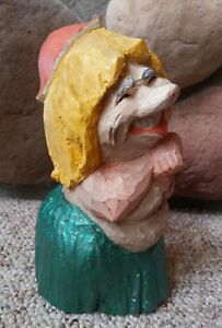 Vtg Henning Norway Scandinavian Hand Carved Wood Troll Aloha Woman Stamped 8