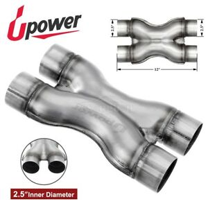 Dual 2 5 X Pipe Universal Stainless Steel Stamped Exhaust Pipe Reduce Drone
