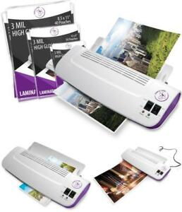 Thermal Laminator Machine With 100 Pack Laminating Pouches Sheets Hot And Cold