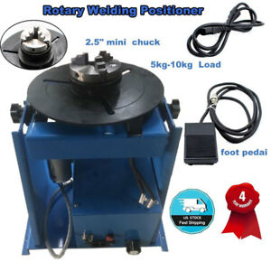 110v Rotary Welding Positioner Turntable Table Mini 2 5 3 Jaw Lathe Chuck Blue