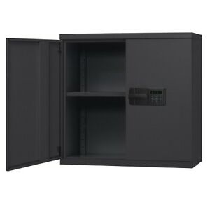 Wall Storage Cabinet Safety Keyless Electronic Lock Adjustable Shelf Steel Black