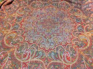 Antique Kashmir Paisley Shawl Moon Shawl Arabesque Style Rare 19th C 64 X 70