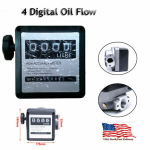 High Accuracy 4 Digital Litre 1 1 Diesel Gas Fuel Oil Flow Meter Counter Us