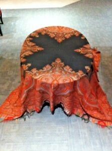 Ex Large Antique Kashmir Paisley Shawl W Coral Intricacies 19th C 68 X 70