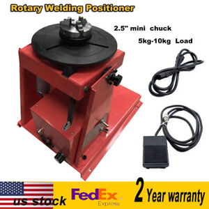 110v 2 5 Auto Rotary Welding Positioner Turntable Table 3 Jaw Lathe Chuck Blue