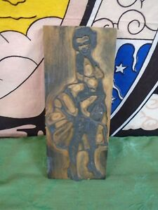 Large Vintage Letterpress Wood Marilyn Monroe Printing Ink Block