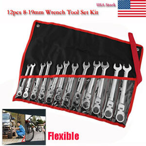 12 Pc 8 19mm Metric Flexible Head Ratcheting Wrench Spanner Combo Tool Set Max