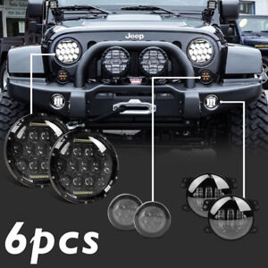 For Jeep Wrangler Jk 7 Led Headlight Amber Signal Turn Light 4 Fog Lamp Kit