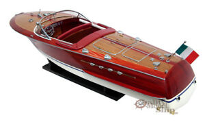 34 Riva Tritone Handcrafted Wooden Model Boat Ready For Display