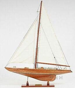 America S Cup Columbia 39 Sailboat Built Wooden Model Yacht Assembled
