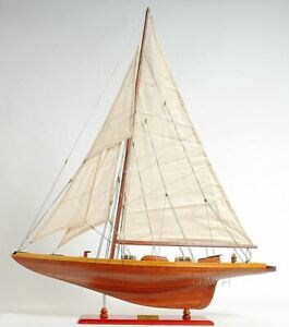 America S Cup Shamrock V The J Sailboat 39 5 Wooden Model Yacht Assembled
