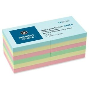 Wholesale Business Source Pastel Adhesive Sticky Notes 3 x3 84 X 100 Sheet Pads