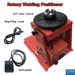 110v Rotary Welding Positioner Turntable Table Mini Jaw Lathe Chuck Blue Us