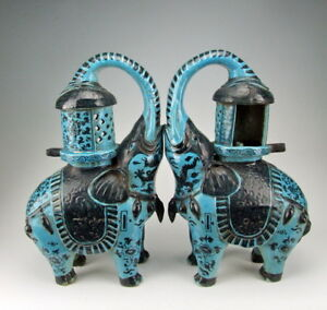 Pair Of Chinese Antique Peacock Green Glazed Porcelain Elephant Shaped Oil Lamps