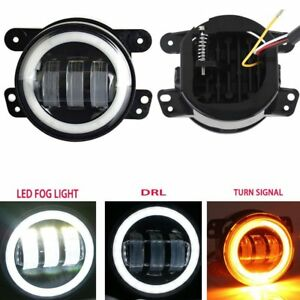 For Jeep Wrangler Lj Jk Tj Dodge 4 30w Led Fog Light Drl White Amber Halo Ring