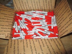 Huge Lot Approx 320 New Sharpie Permanent Markers Fine Point Red Free Shipping