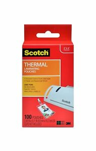 Scotch Thermal Laminating Pouches 2 4 X 4 2 in Id Badge W out Clip 100 Pouches