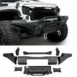 Textured Black Front Bumper W Winch Plate For Jeep Wrangler 07 18 Jk
