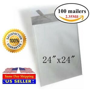 100 24x24 Poly Mailer Self Sealing Shipping Envelopes Bags 2 35mil st Shipmailes