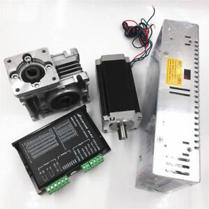 Stepper Nema23 Motor Drive power Supply Kit Worm Gearbox 1 8nm 20 1 L76mm 2phase