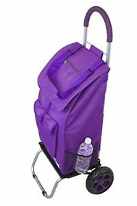 Bigger Trolley Dolly Foldable Portable Grocery Shopping Luggage Cart Purple