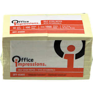 Office Impressions Self Stick Notes 3 X 3 100 sheet Pads 18 Pack