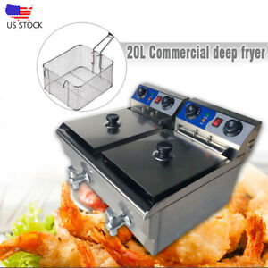 20l Commercial Electric Deep Fryer Twin Frying Basket Chip Cooker Fry W Timer