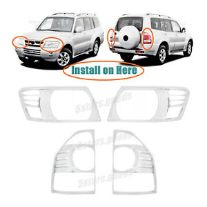 Chrome Headlight Taillight Covers Trims For 2003 2006 Mitsubishi Montero Suv