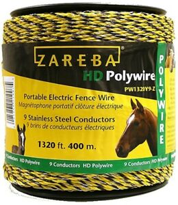 1320 Ft Portable Electric Fence Poly Wire Horse Supplies Yellow Framing