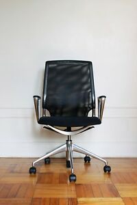 Vitra Meda Office Chair In Black Netweave With Polished Aluminum Casters