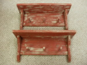 Lot Of 2 Red Weathered Looked 3 Peg Shelf 19 Long Primitive Rustic Wood