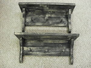 Lot Of 2 Black Weathered Looked Peg Shelf 19 Long Primitive Rustic Wood