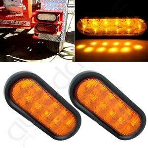 2x 6 Led Amber Oval Turn Signal Stop Tail Lights Truck Trailer Rv Kits Sealed