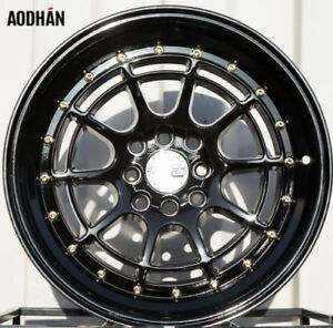 Aodhan Ah04 16x8 4x100 114 3 Et15 Full Black Wheels Fits Accrod Jetta 325 318